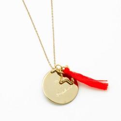 Sautoir médaille personnalisé pompon
