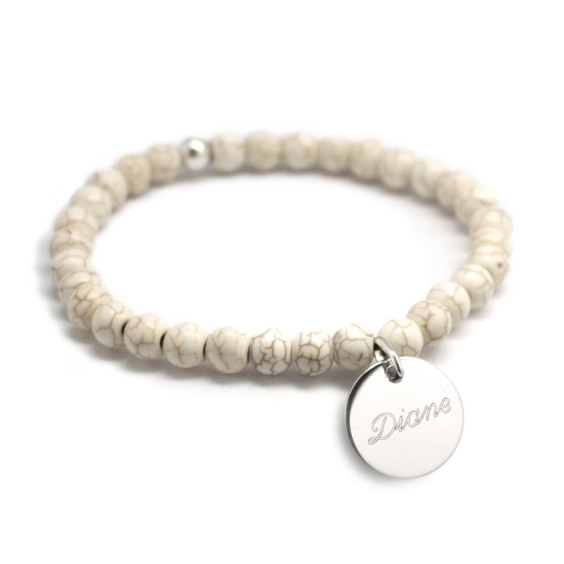 Bracelet perles femme - Agate ivoire - Argent 925